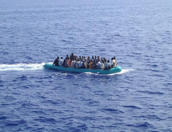 Bootvluchtelingen bij Lampedusa